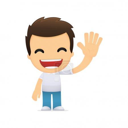 Illustration pour Homme décontracté drôle de dessin animé dans diverses poses pour une utilisation dans la publicité, présentations, brochures, blogs, documents et formulaires, etc. . - image libre de droit