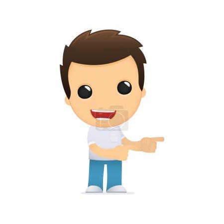 Photo pour Homme décontracté drôle de dessin animé dans diverses poses pour une utilisation dans la publicité, présentations, brochures, blogs, documents et formulaires, etc. . - image libre de droit