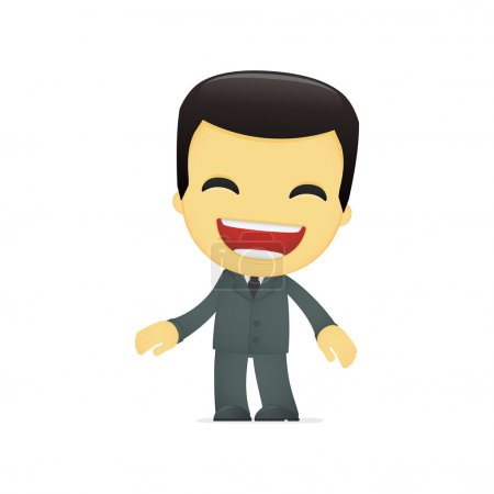 Illustration for Funny cartoon asian businessman in various poses for use in advertising, presentations, brochures, blogs, documents and forms, etc. - Royalty Free Image