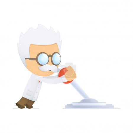 Funny cartoon scientist in various poses for use i...