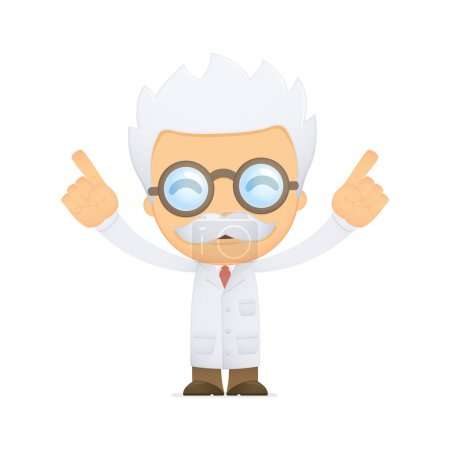 Illustration for Funny cartoon scientist in various poses for use in advertising, presentations, brochures, blogs, documents and forms, etc. - Royalty Free Image