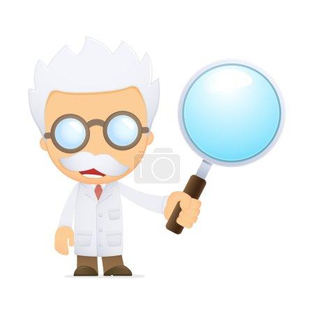 Funny cartoon scientist