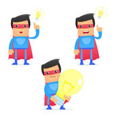 Set of funny cartoon superhero in various poses for use in presentations etc