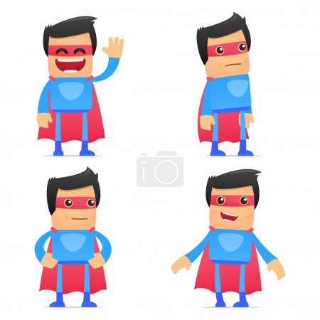 Illustration for Set of funny cartoon superhero in various poses for use in presentations, etc. - Royalty Free Image