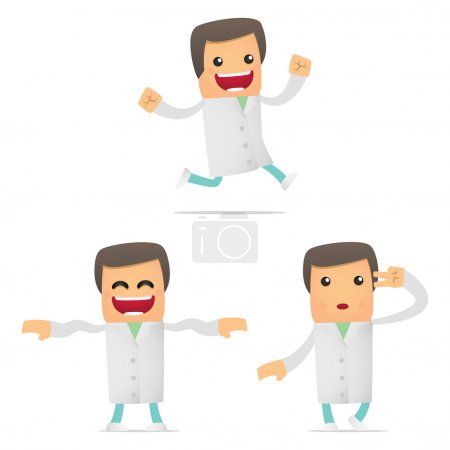 Illustration for Set of funny cartoon doctor in various poses for use in presentations, etc. - Royalty Free Image