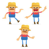 Set of funny cartoon farmer in various poses for use in presentations etc