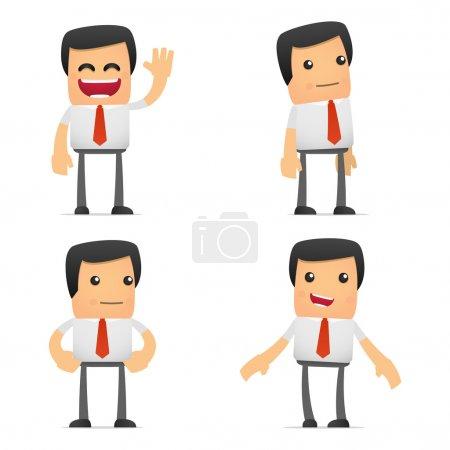 Photo pour Ensemble de gestionnaire de dessin animé drôle dans diverses poses pour une utilisation dans les présentations, etc. . - image libre de droit