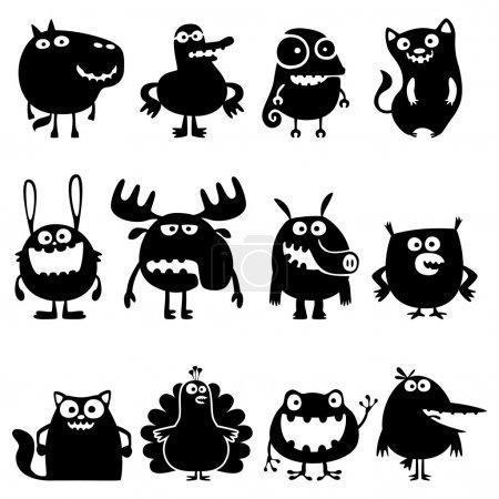 Illustration pour Collection de silhouettes d'animaux vecteurs drôles de dessins animés - image libre de droit