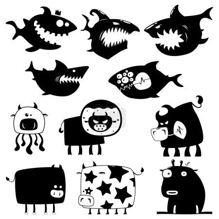 Photo pour Collection de dessins animés drôles de requins et vaches silhouettes - image libre de droit