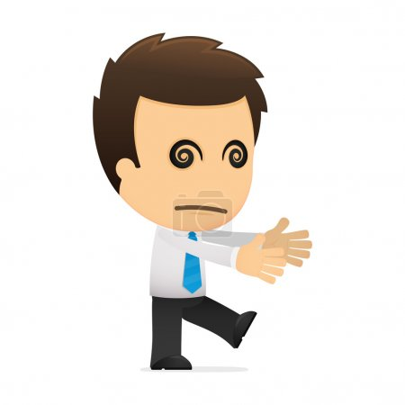 Illustration for Funny cartoon office worker in various poses for use in advertising, presentations, brochures, blogs, documents and forms, etc. - Royalty Free Image