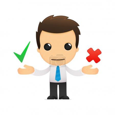 Illustration pour Humour dessinateur de bureau dans diverses poses pour une utilisation dans la publicité, présentations, brochures, blogs, documents et formulaires, etc. . - image libre de droit