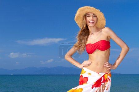 High-spirited beautiful woman