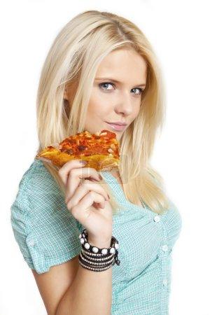 Photo pour Portrait de jeune femme avec la pizza sur fond blanc - image libre de droit