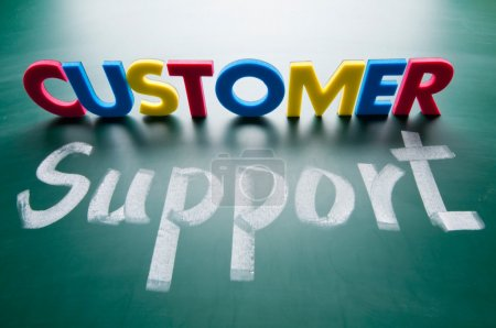 Photo for Customer support, colorful words on the blackboard. - Royalty Free Image