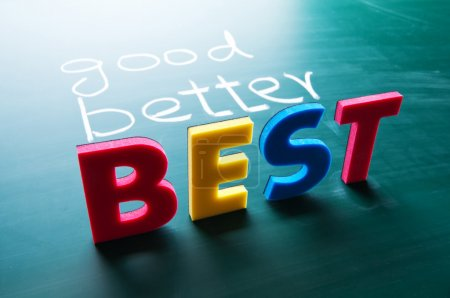 Photo for Good, better and best, colorful words on blackboard - Royalty Free Image