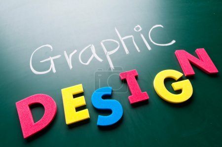 Photo for Graphic design concept, colorful words on blackboard. - Royalty Free Image