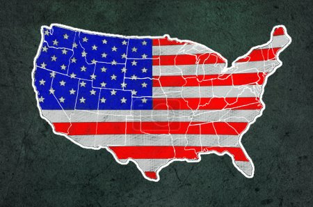 Photo for America map with flag draw on grunge blackboard - Royalty Free Image