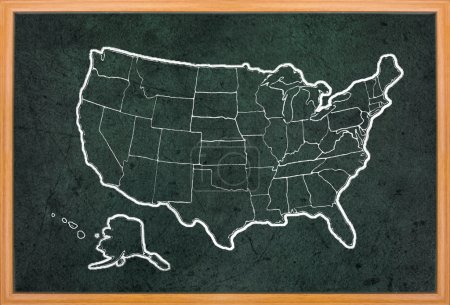 Photo for America map draw on grunge blackboard with wooden frame - Royalty Free Image