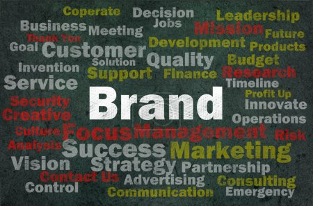 Photo for Brand concept with other related words on retro background - Royalty Free Image