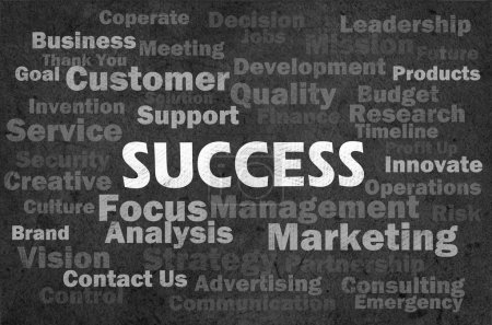 Photo for Success concept with other related words on retro blackboard - Royalty Free Image