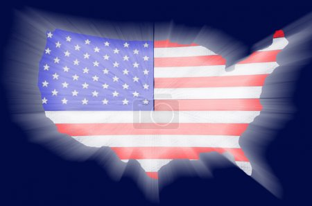 Photo for America map with flag shinning on blue screen - Royalty Free Image