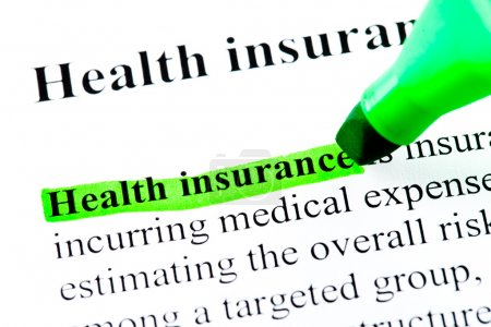 Health insurance definition highlighted in green