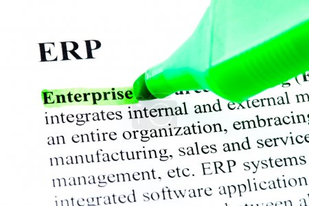 Photo for ERP enterprise resource planning definition highlighted by green marker - Royalty Free Image