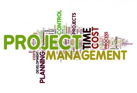 Photo pour Concept de gestion de projet dans word tag cloud - image libre de droit