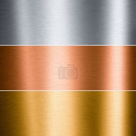 Brushed metallic plates in three colors