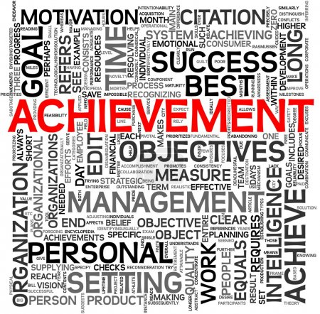 Achievement concept in tag cloud