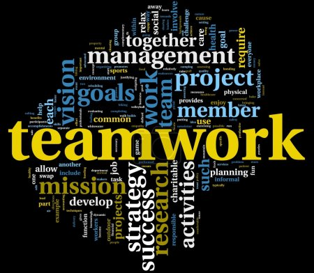 Photo for Teamwork and strategy concept in word tag cloud - Royalty Free Image