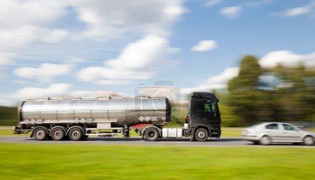 Petrol tanker truck in motion blur