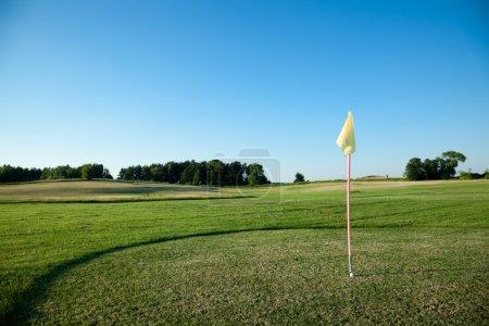 Photo pour Drapeau sur le terrain de golf. Une boule près d'un trou et un drapeau sur la mise en vert . - image libre de droit