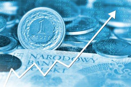 Photo pour Flèche graphique monter et polir la monnaie en arrière-plan. Tout en couleur bleue . - image libre de droit