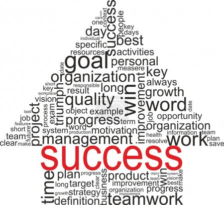 Success concept related words in tag cloud isolated on white. Arrow with different association terms.