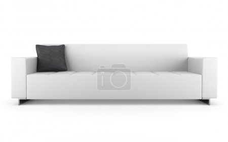 Modern leather couch isolated on white background