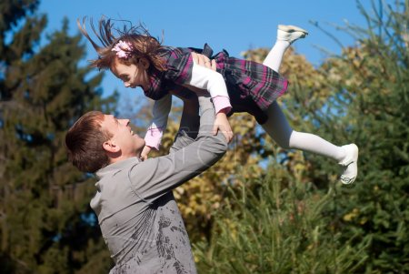 Photo for Father and daughter against nature - Royalty Free Image