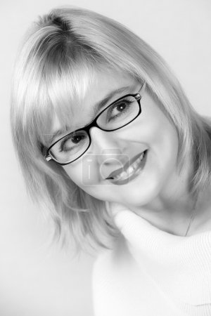 Portrait of lovely woman in glasses