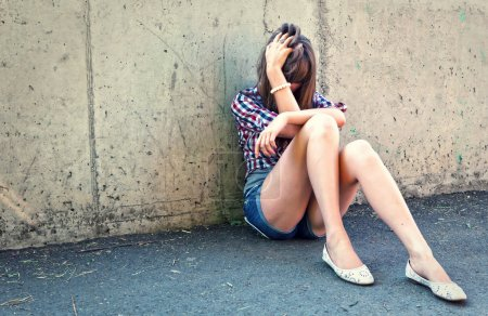Photo for Closeup portrait of depressed teenager girl. - Royalty Free Image