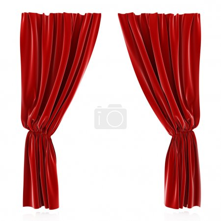 Foto de Render 3D de cortina roja aislada en fondo blanco - Imagen libre de derechos