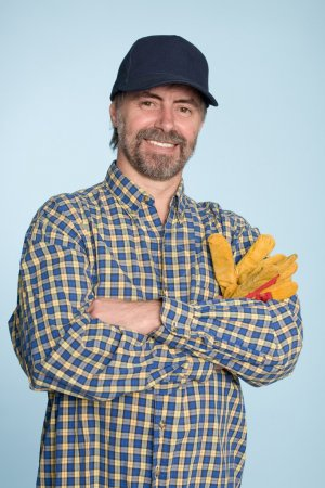 Cheerful man in cap