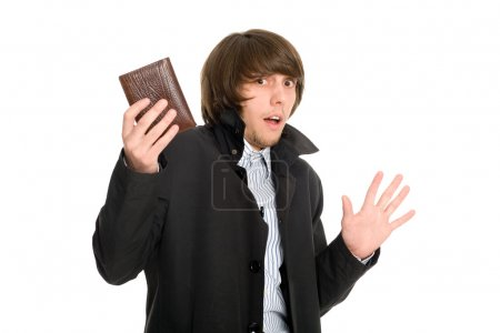 Photo pour Panique peur jeune homme a donné à son portefeuille le voleur présumé. - image libre de droit