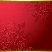 Red floral card with gold ribbons - vector