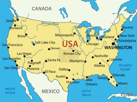 The United States of America - vector map