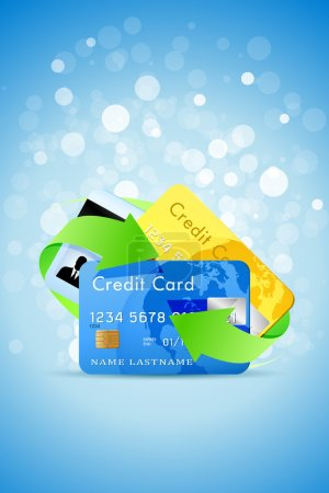 Blue Background with Credit Cards and Green Arrows