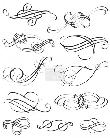 Illustration for Set of Calligraphic style element design vector layered. - Royalty Free Image