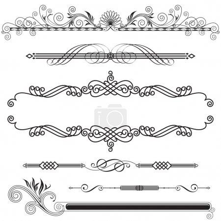 Illustration for Set of Horizontal Ornamental design elements vector illustration. - Royalty Free Image