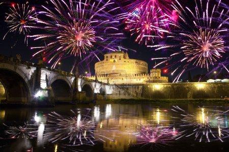 Celebratory fireworks over Castel Sant' Angelo. Italy. Rome.