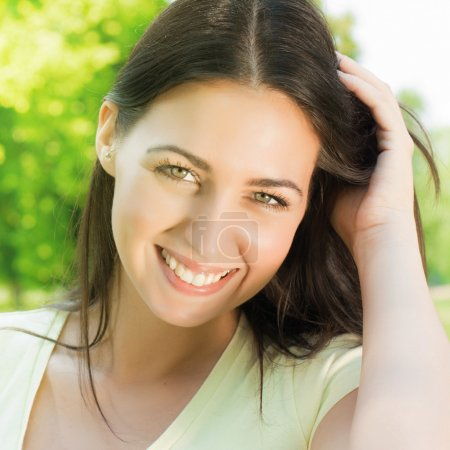 Photo for Closeup portrait of beautiful and happiness young woman. - Royalty Free Image