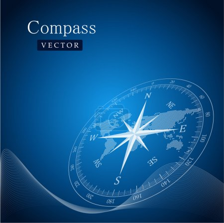 Photo for Black compass vector illustration. - Royalty Free Image